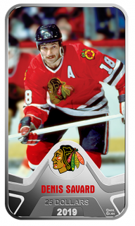 2019 - $25 - Pure Silver Coin - NHL® Original Six™: Chicago Blackhawks®: Denis Savard