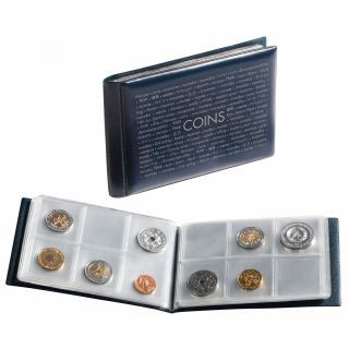 Coin wallet  wiht 8 coin sheets each for 6 coins, blue