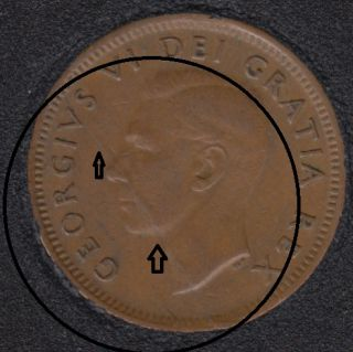 1951 - Planchet Flaw - Canada Cent