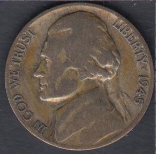1945 P - Jefferson - Wartime Silver - 5 Cents