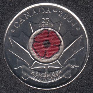 2004 P - B.Unc - Poppy - Canada 25 Cents