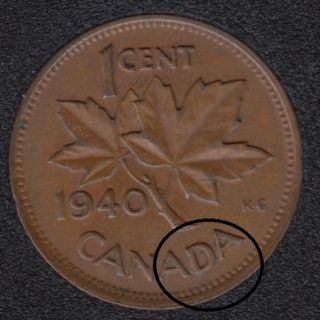 1940 - Break DA Attached to Rim - Canada Cent