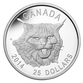 2014 - $25 - Fine Silver Ultra-High Relief Coin – Canada Lynx