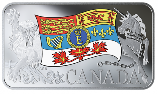 2019 - $25 - Pure Silver Coin - Her Majesty Queen Elizabeth II's Personal Canadian Flag