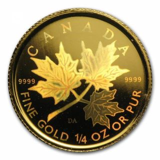 2001 - $10 -  Fine Gold - 1/4 Oz Maple Leaf Hologram