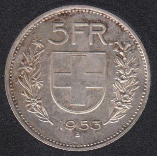 1953 B - 5 Francs - EF - Switzerland