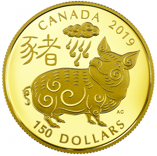 2019  - $150 - 18-karat Gold Coin - Year of the Pig