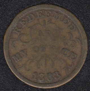 1863 - Oliver Boutwell N.Y. - Civil War Token