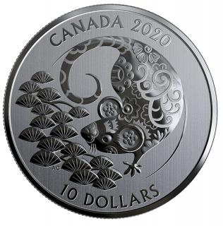 2020 - $10 - Pièce de 1/2 oz en argent pur - Année du Rat