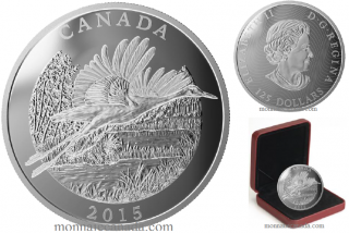 2015 - $125 - Half Kilogram Fine Silver Coin - Conservation Series: The Whooping Crane