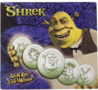 2001 Collection Ciné Monnaie - 5 Médaillons & Autocollants - Shrek