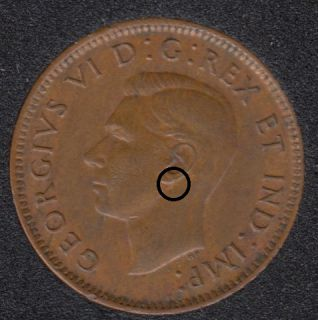 1943 - Dot on Ear - Canada Cent