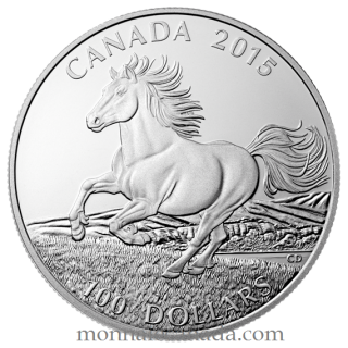 2015 - $100 for $100 - Fine Silver Coin – Canadian Horse