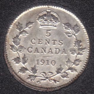 1910 - AU/UNC - Pointed Lvs - Canada 5 Cents