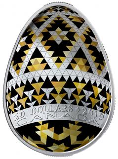 2019 - $20 - Vegreville Pysanka - 1 oz. Pure Silver Coloured Coin