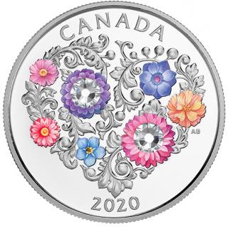 2020 - $3 - Pièce en argent pur ornée d'un cristal SwarovskiMD Ode à l'amour