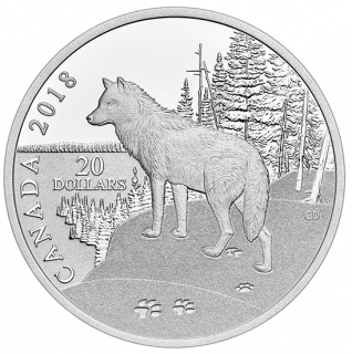 2018 - $20 - 1 oz. Pure Silver Coin - Paw Prints on the Edge: Wolf