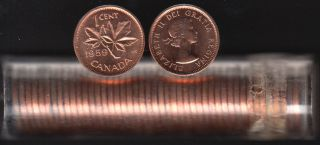 1959 Canada 1 Cent - BU ROLL 50 Coins - UNC - in Plastic Tube
