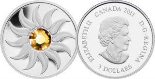 2011- $3 - Fine Silver Coin - November Birthstone (Topaz)
