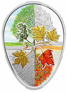 2018 - $20 - 1 oz. Pure Silver Gold-Plated Coin - Four Seasons of the Maple Leaf