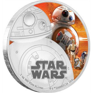 2016 Niue Star Wars: The Force Awakens - BB-8 1 oz Silver Colorized Proof $2