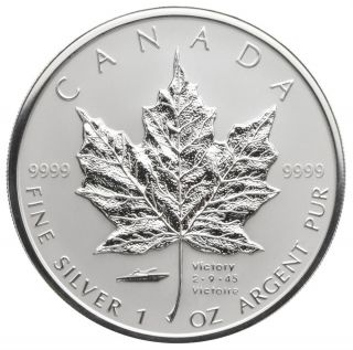 2005 - $5 Fine Silver maple leaf - V-J Day Privy Mark - TAX Exempt