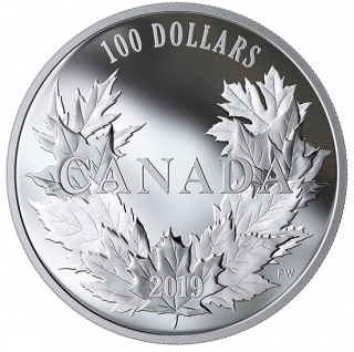 2019 - $100 - 10 oz. Pure Silver Coin - Canadian Maples