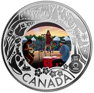 2019 - $3 - Pure Silver Coloured Coin - Folk Music: Celebrating Canadian Fun and Festivities