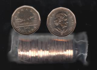 2011 Canada Roll $1 Dollar - Loon - 25 Coins - UNC