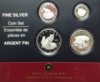 2005 Lynx Proof Set of 4 Silver Coins .9999 Fine (1oz - 1/10oz)