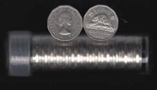 1962 Canada 5 Cents - 40 Coins in Plastic Tube