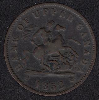 P.C. 1852 Bank of Upper Canada Penny  PC-6B5