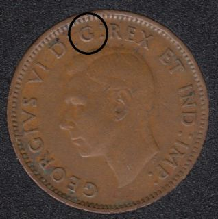 1943 - Break I to Rim - Rotated Dies - Canada Cent