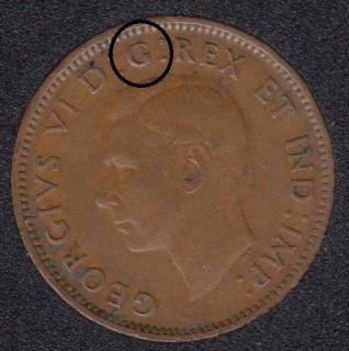 1943 - Break I to Rim - Rotated Dies - Canada Cent