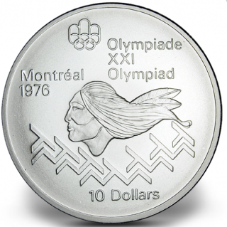 1976 - #13 (1975) - $10 - Sterling Silver Coin, Montreal Summer Olympic Games, Men's Hurdles