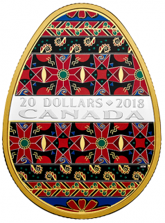 201 8 - $20 - Golden Spring Pysanka - 1 oz. Pure Silver Gold-Plated Coin