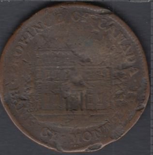 P.C. 1844 Half Penny Token Banf of Montreal View - Damage- PC-1B