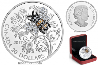 2017 - $20 - 1 oz. Pure Silver Coin - Bejewelled Bugs: Bee