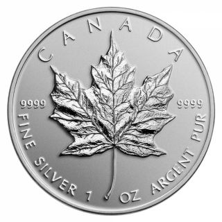 2014 - $5 - 1 oz. Fine Silver Coin - Maple Leaf Replica