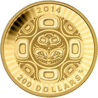 2014 - $200 - 1/2 oz. Pure Gold Coin – Interconnection: Sea - Orca