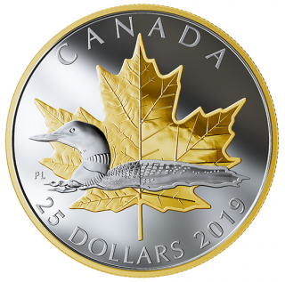 2019 - $25 - 1 oz. Pure Silver Gold Plated Piedfort - Timeless Icons: Loon