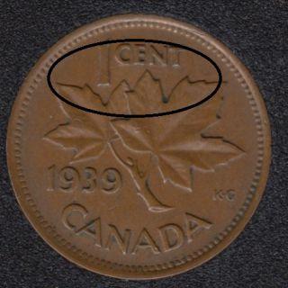 1939 - Break 'CENT' - Canada Cent