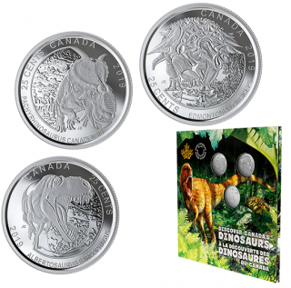 2019 - 25¢ - Dinosaurs of Canada 25-Cent 3-Coin Set