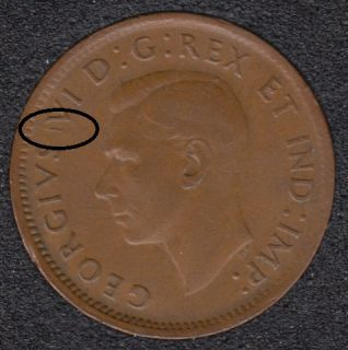 1943 - Break Between S & V - Canada Cent