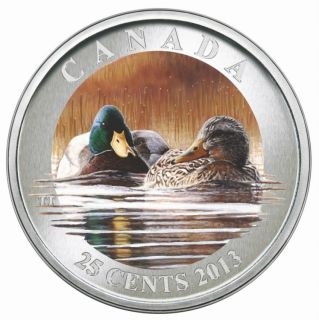 2013 - Mallard - Coloured Coin 25c