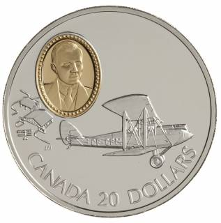 1992 Canada $20 Dollars Sterling Silver - De Havilland Gipsy Moth - Powered Flight