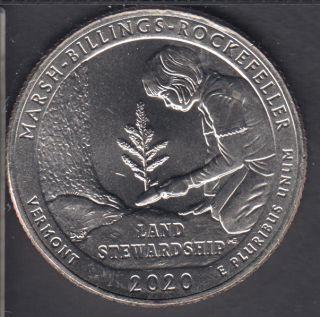 2020 D - B.Unc - Marsh - Billings - Rockefeller - 25 Cents