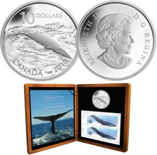 2010 - $10 Sterling Silver Coin & Stamps Set - Blue Whale