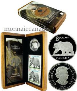 2004 -$8  Formidable Grizzly Pièce et Timbre Edition Limité