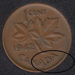 1942 - Break ADA attached to Rim - Canada Cent